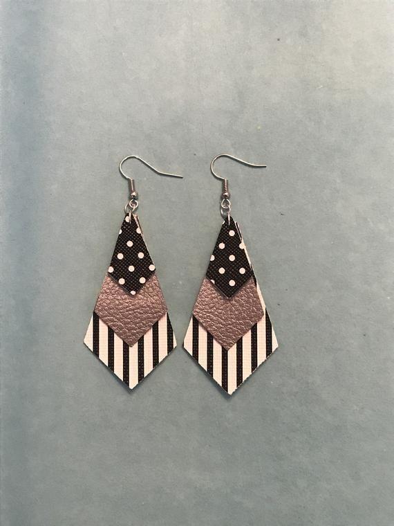 Photo of Teardrop Earrings – faux leather – dangle earrings