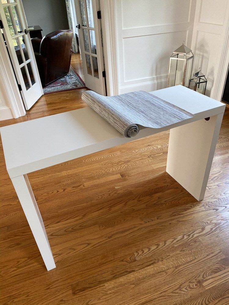 Ikea Hack Grasscloth Covered Malm Dressing Table Stefana Silber Ikea Dressing Table Ikea Console Table Malm Dressing Table