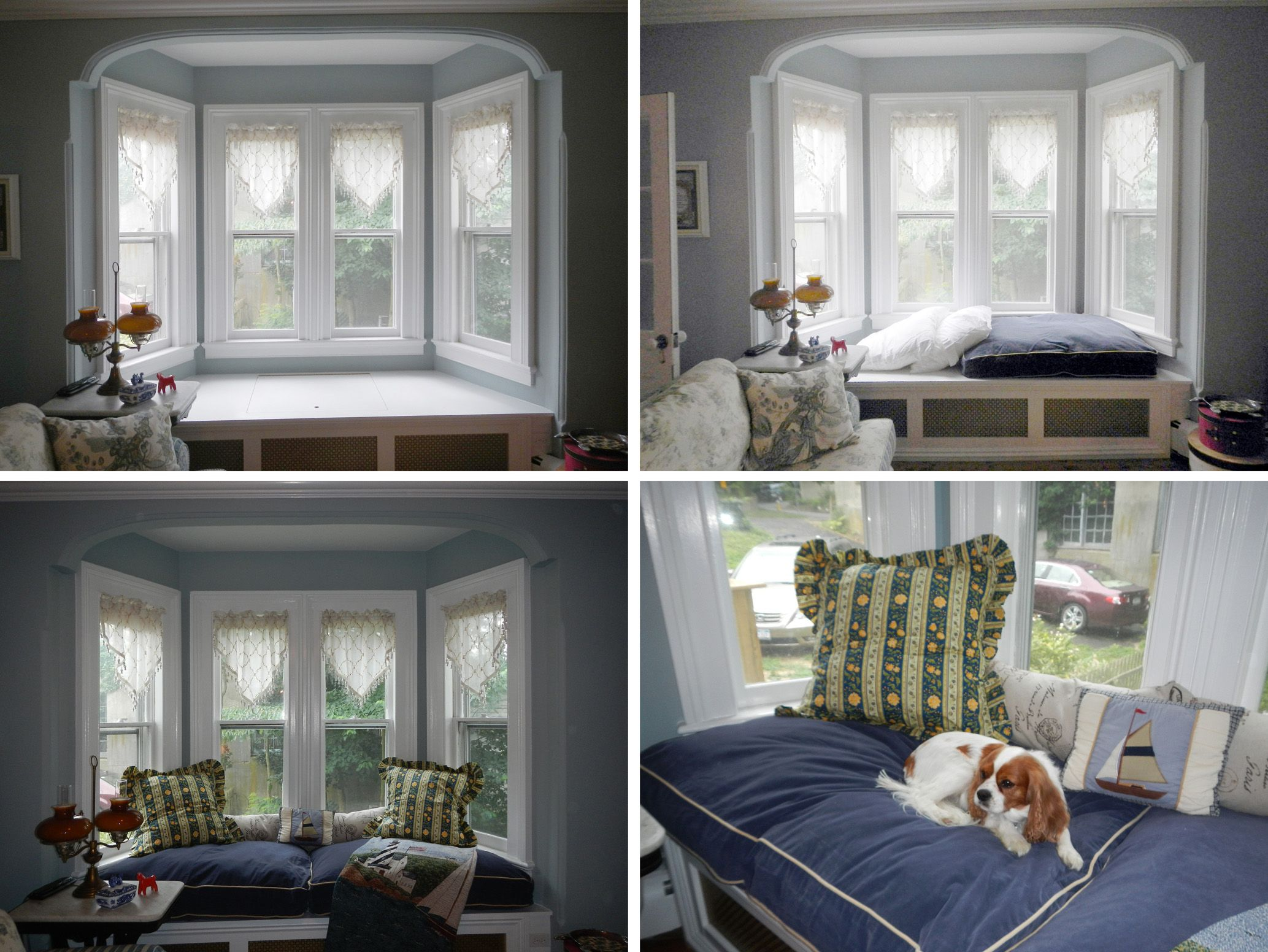 Instead Of Springing For Custom Cushions On A Bay Window Seat I - Beautiful windows and love the window seat with blue white cushions