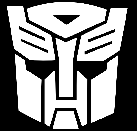 transformers g1 logo in black and white transformers
