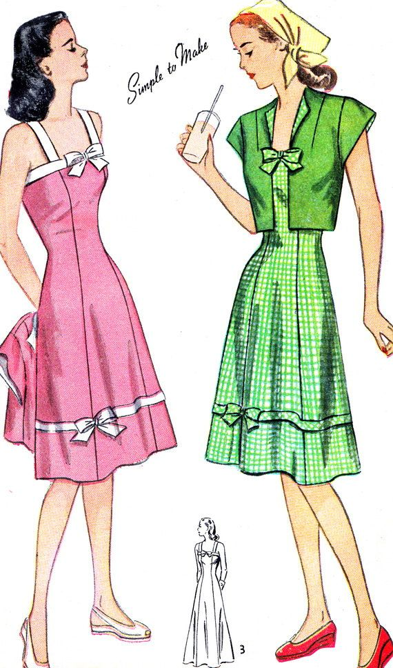 1940s Dress Pattern Simplicity 2046 Flared Skirt Princess Seam ...