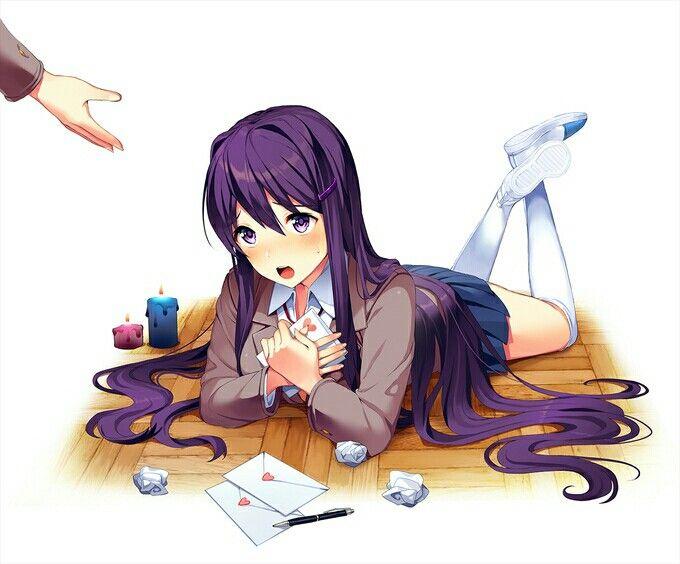 Anime girl sitting on floor
