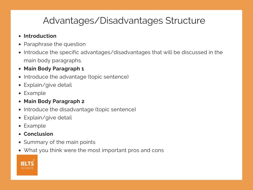 how to write an advantages or disadvantages essay  essay  ielts  ielts advantage or disadvantage essay structure
