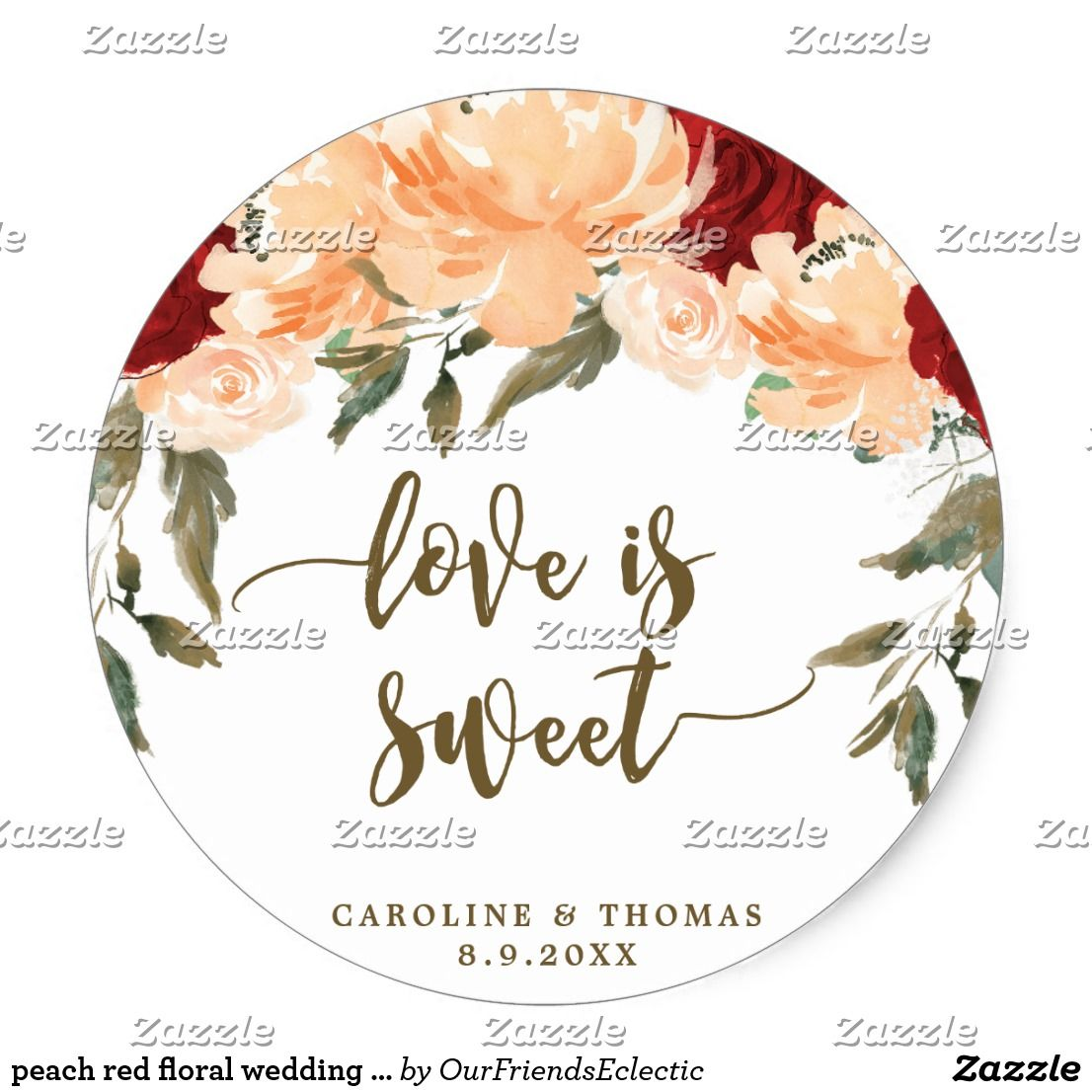 Peach red floral wedding favors sticker | Floral wedding, Favours ...