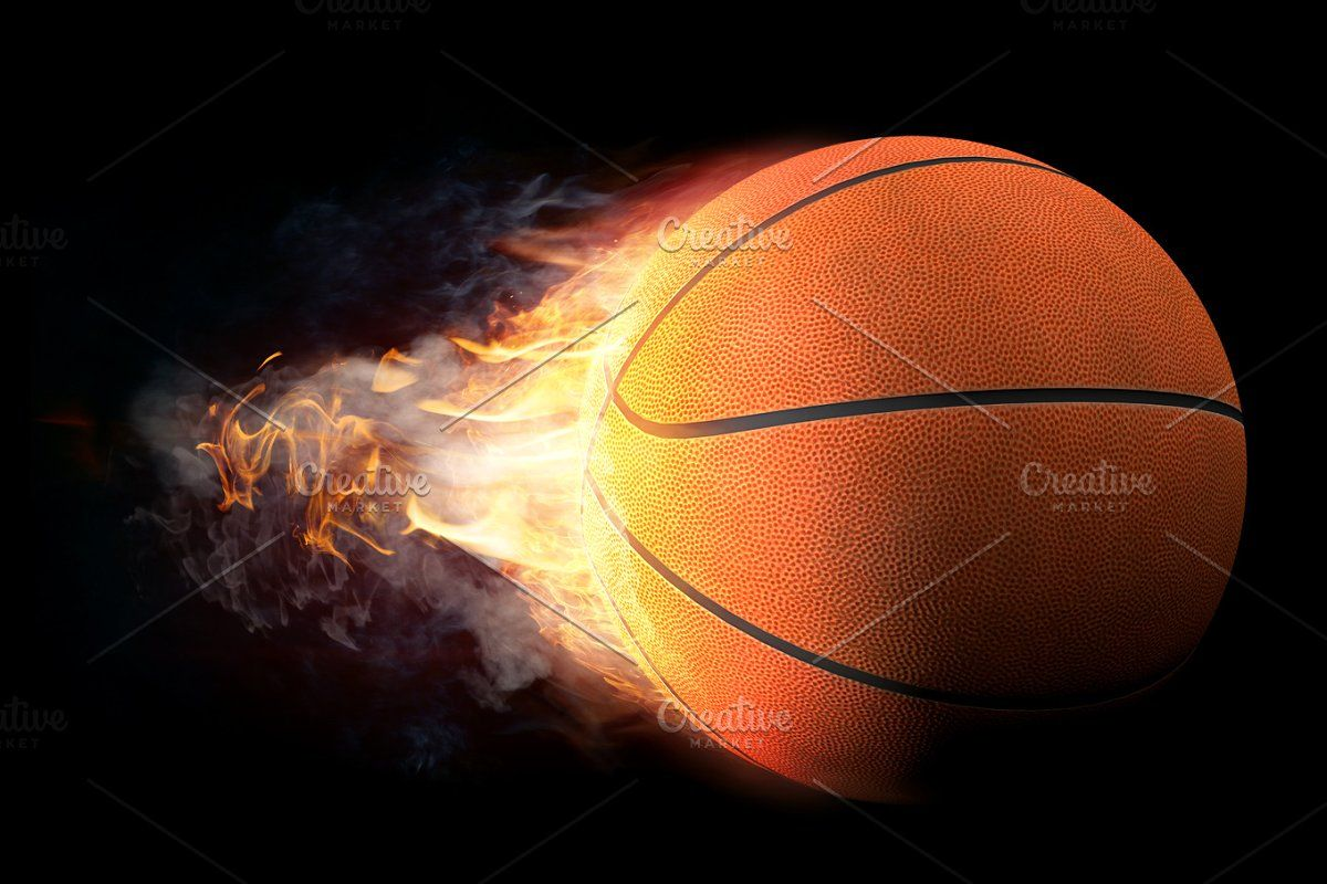 Basketball In Fire In 2020 Creative Graphics Realistic Fire Designs