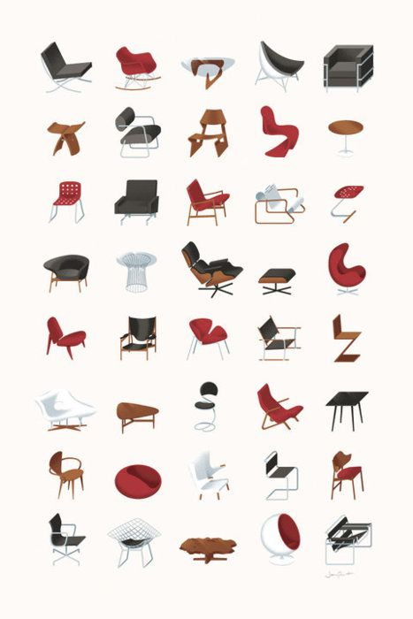 Illustrations of modern classic designer chairs by James Provost ...