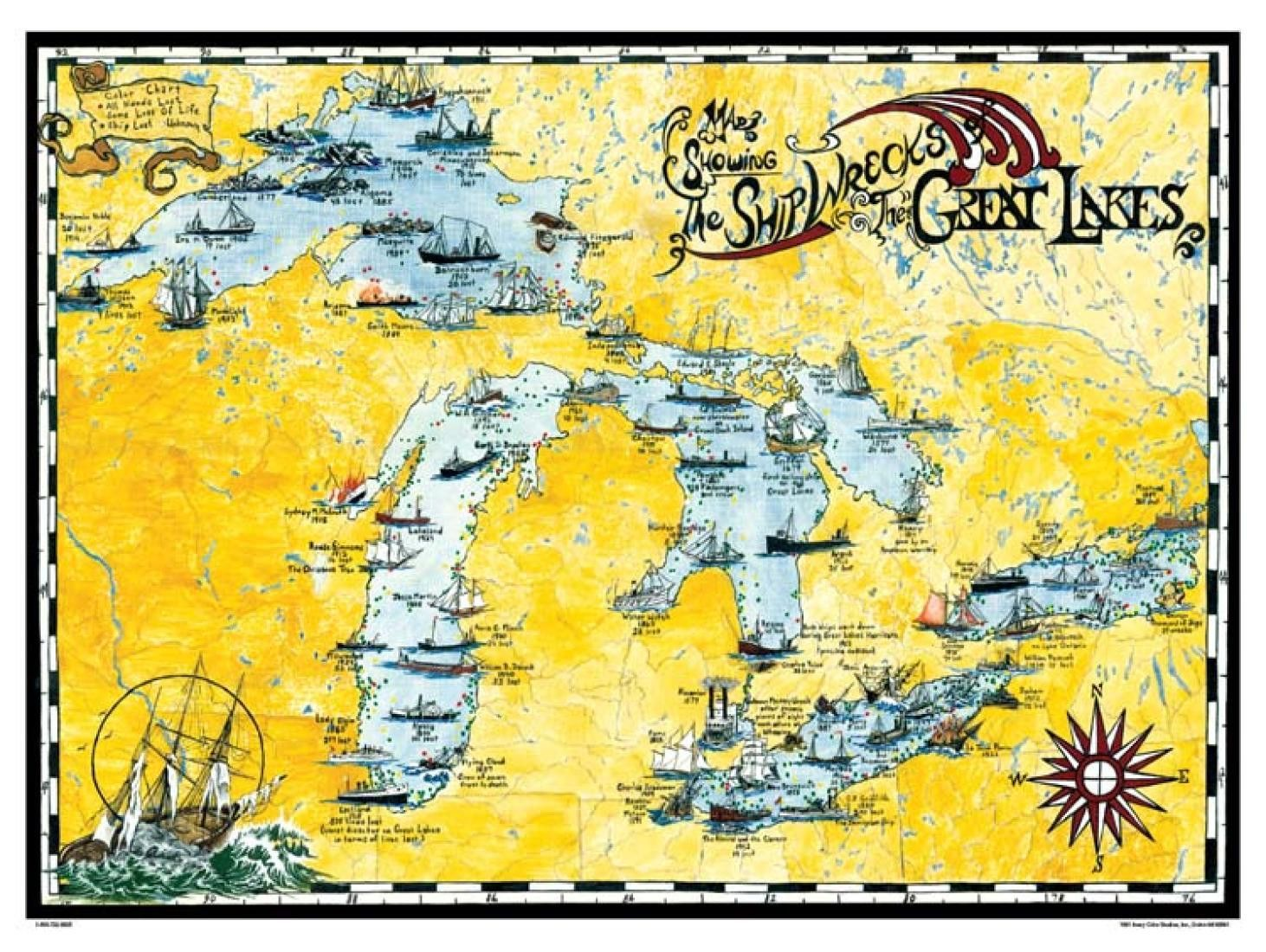 map of lake michigan shipwrecks Great Lakes Shipwreck Map By Avery Color Studios Great Lakes map of lake michigan shipwrecks
