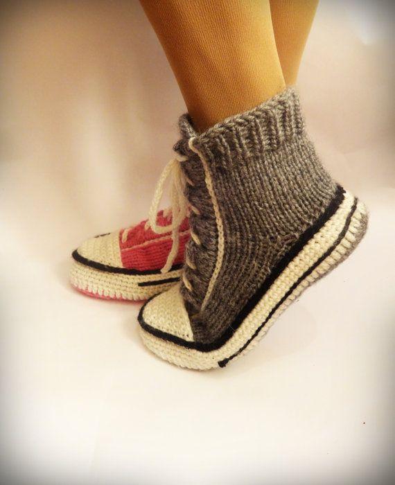 Graue Converse Pantoffeln, Crochet Converse, Converse