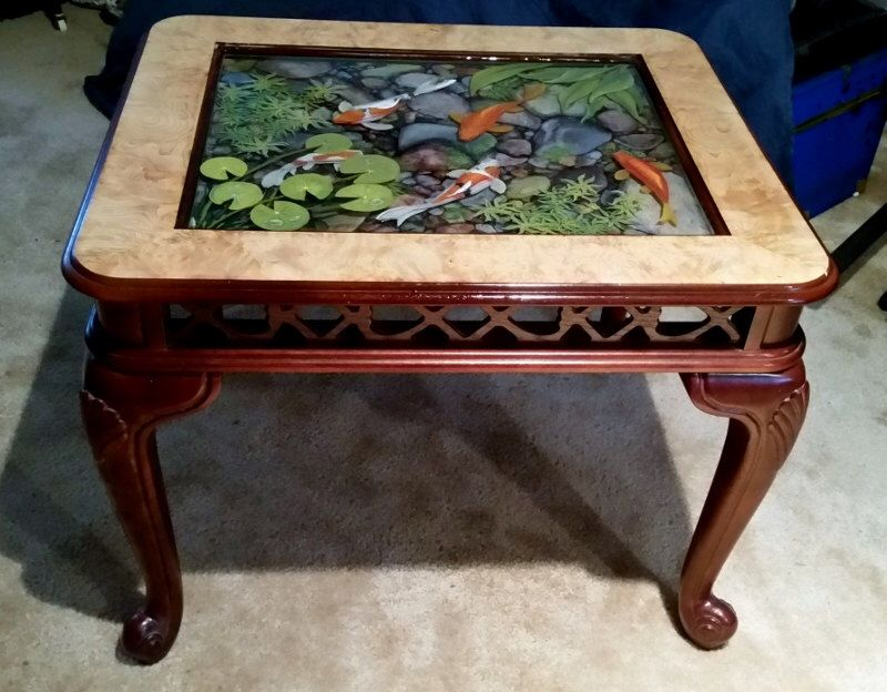 Table unique 3d resin painting koi pond by vmveldman on for Koi fish pool table
