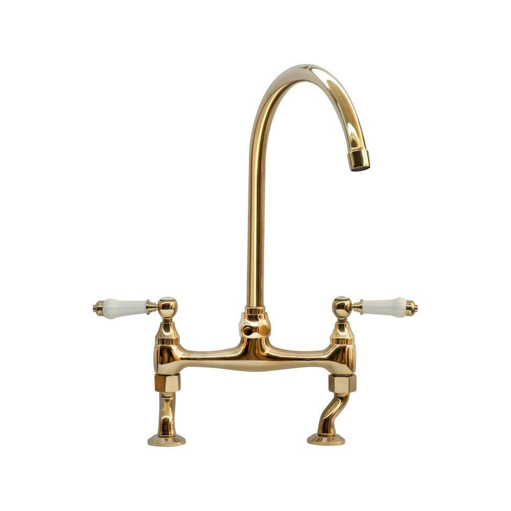 Enki Kt066 Traditional Lever Bridge Kitchen Sink Mixer Tap English Gold Brompton Sink Mixer Taps Mixer Taps Gold Taps