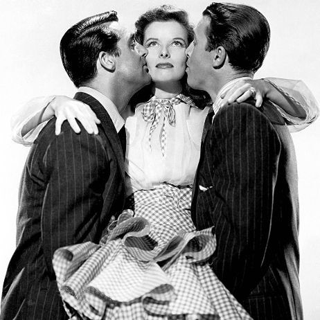 Cary Grant, Katherine Hepburn, James Stewart... She looks so impressed. Love her. Love them all.