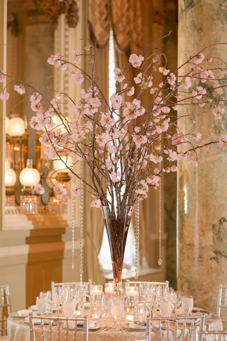 Cherry Blossoms are the perfect centerpiece for a #Willard #DC Weddi…    Branch centerpieces wedding, Cherry blossom centerpiece, Cherry blossom  wedding centerpieces