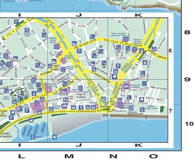 Madeira Map Funchal Street Map With Hotel Indication Funchal