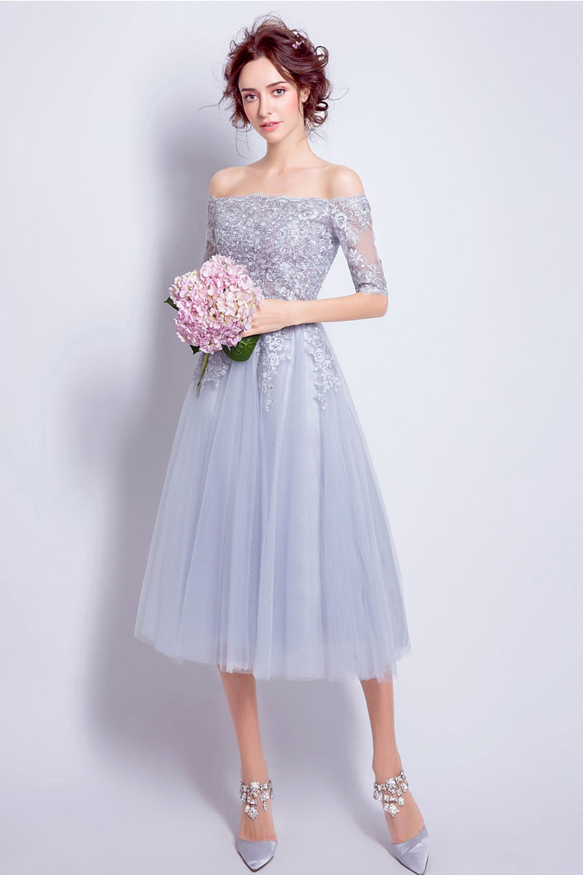 21610232fa10 Beautiful gray tulle off shoulder knee length evening gown #wedding #prom  #promdress #prom2018 #weddingdresses