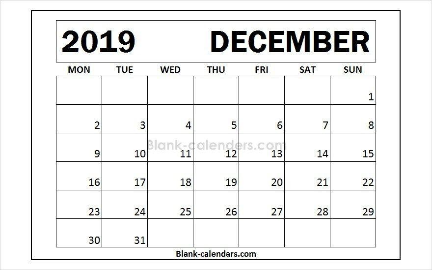 December 2019 Calendar Monday Start Design Blank Templates 2019