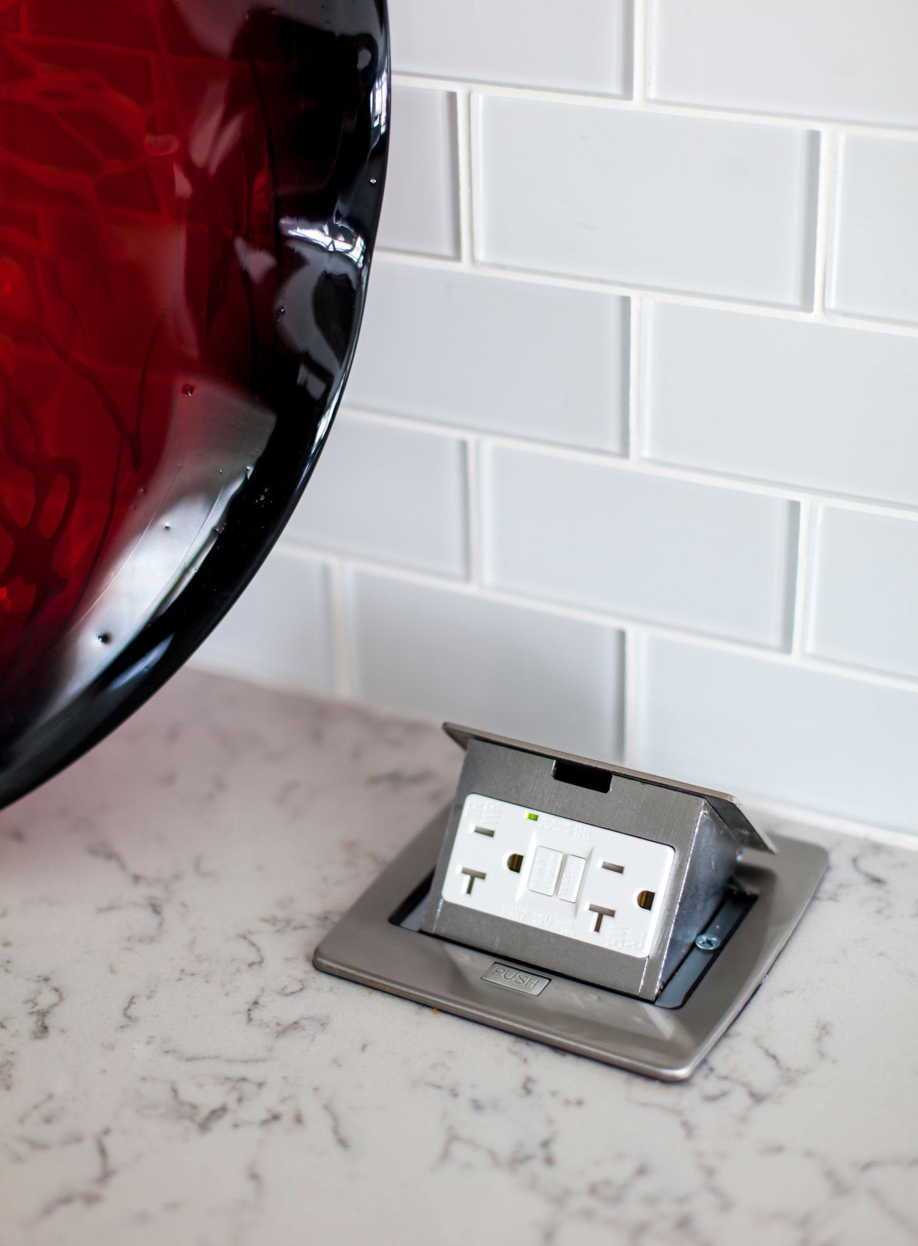 Kitchen Design Idea Install A Pop Up Outlet Directly Into Your Countertop This Allows Clean Look For Backsplash As Well