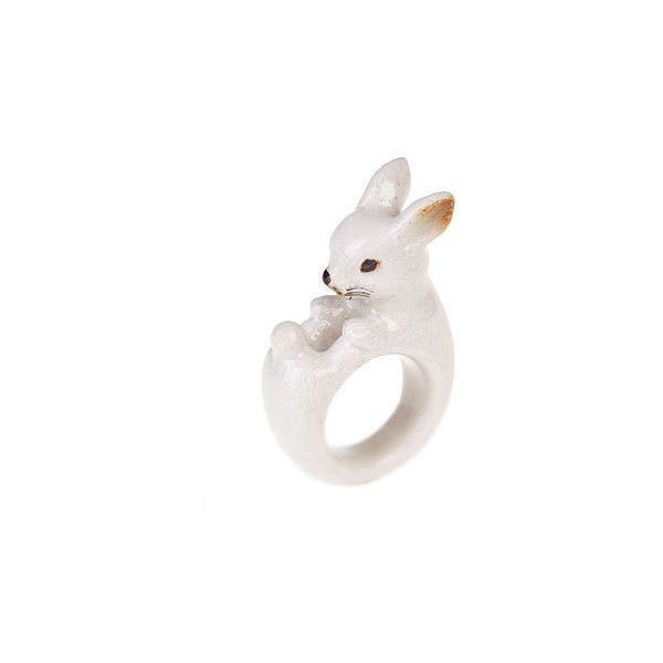 Hand Painted Porcelain White Rabbit Ring by Bloom Boutique (€28) ❤ liked on Polyvore featuring jewelry, rings, accessories, bijoux, porcelain rings, white jewelry, porcelain jewelry and white ring