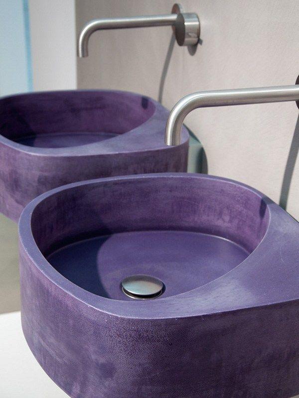 Wall Hung Concrete Sink In Purple By Moab 80 Purple Bathrooms Purple Home Purple Kitchen