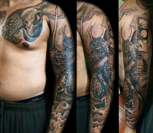 samurai full arm design tattoos cool full arm tattoos designs skull tattoo pinterest. Black Bedroom Furniture Sets. Home Design Ideas