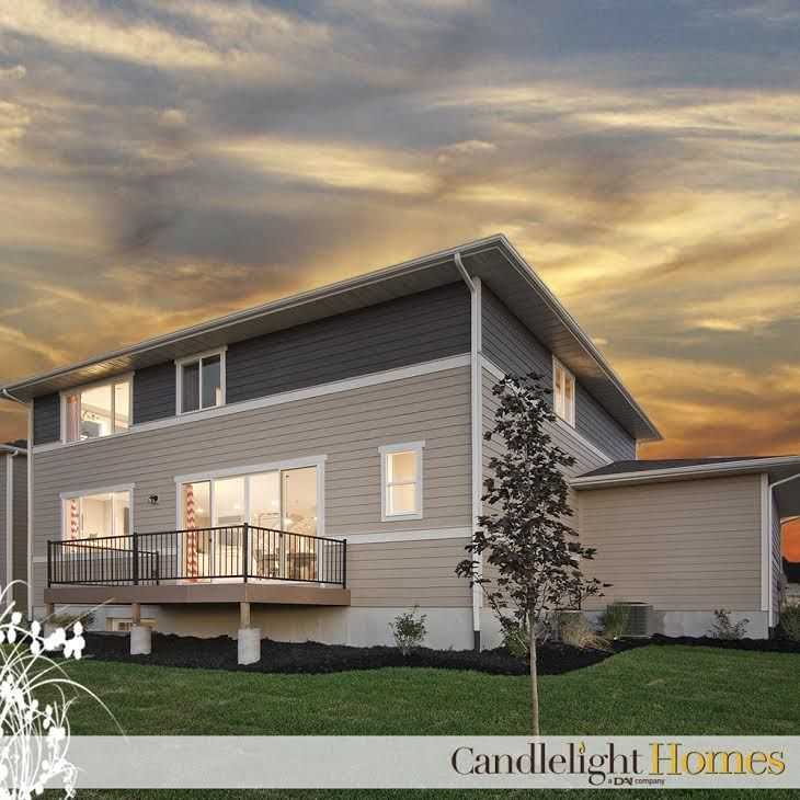 Candlelighthomes Utah Homebuilder Two Story Home Blue Hardi Board Tan Back Patio Candlelight Homes Pinterest House