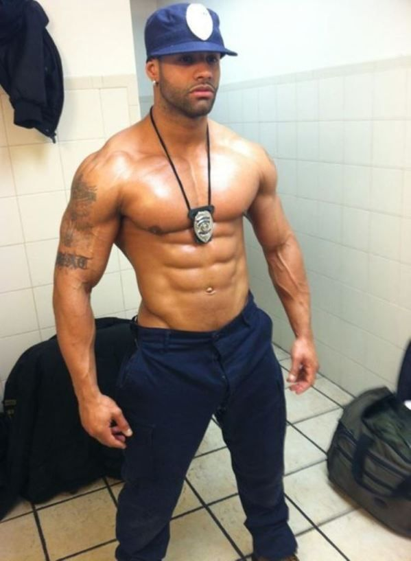 Excited Black muscle men in uniforms agree, the