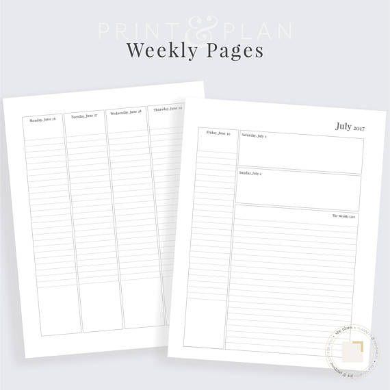 Weekly Printable Planner Academic Planner Planner