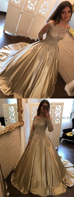 Ball gown satin appliques elegant prom dresslong prom dressesprom