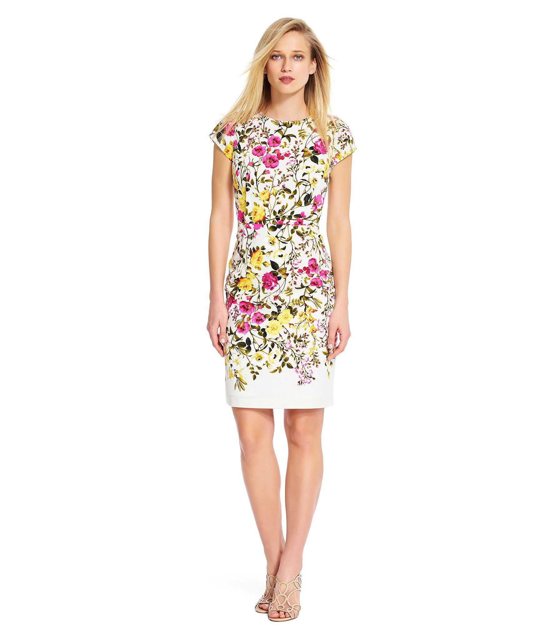 Adrianna papell floral sheath dress dillards what to wear