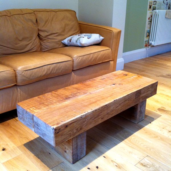 chunky oak railway sleeper coffee table | chunky table | pinterest