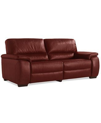 Marchella Leather Dual Power Reclining Sofa Macy S For The Home