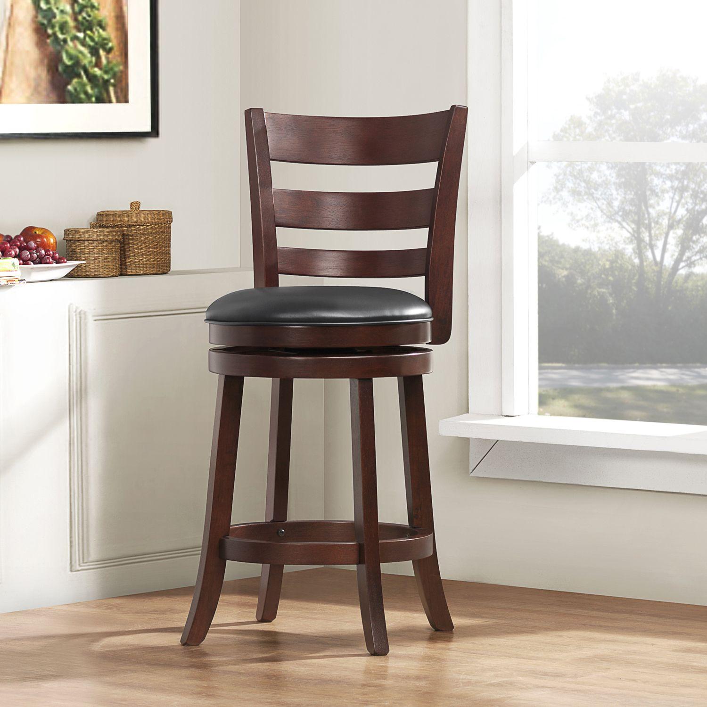 Espresso & Black 24 Swivel Counter Height Stool