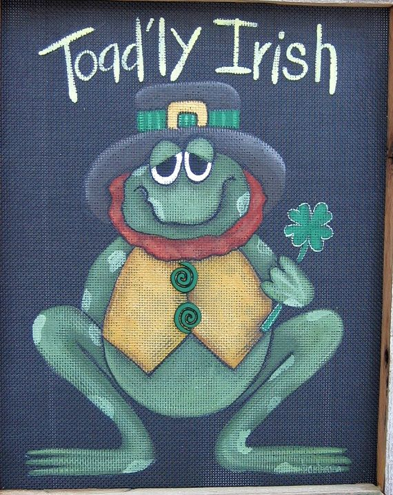 Toad'ly+Irish+Toad+or+Frog+Tole+Painting+by+barbsheartstrokes