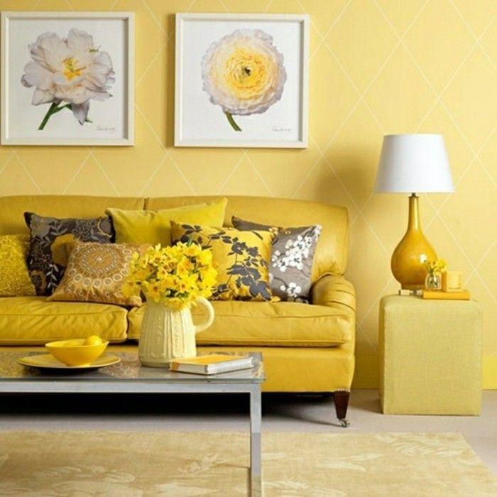 dekoideen wohnzimmer gelbes interieur gelbe blumendeko wandbilder - wandbilder wohnzimmer modern