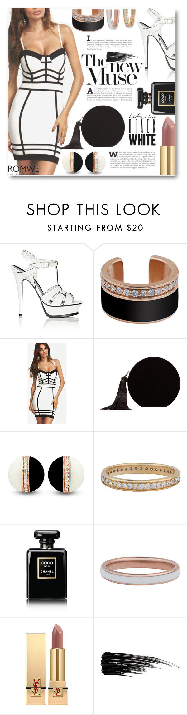 """Hold up, they don't love you like I love you"" by sunshineb ❤ liked on Polyvore featuring Yves Saint Laurent, MANGO, Chanel, Urban Decay, dress, blackandwhite and romwe"