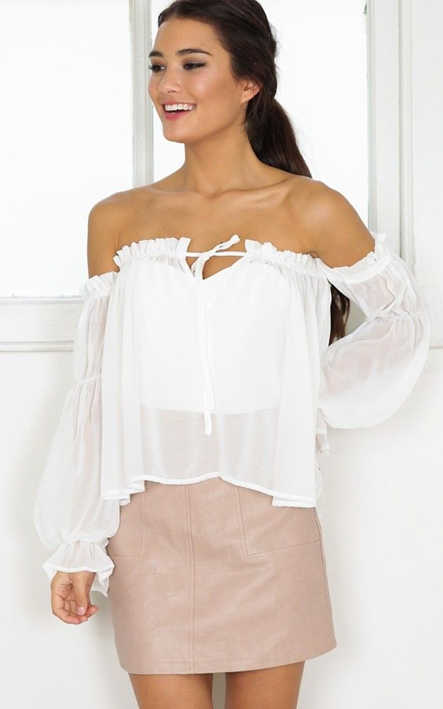 White Frill Off Shoulder Sheer Peasant Blouse Fall Fashion