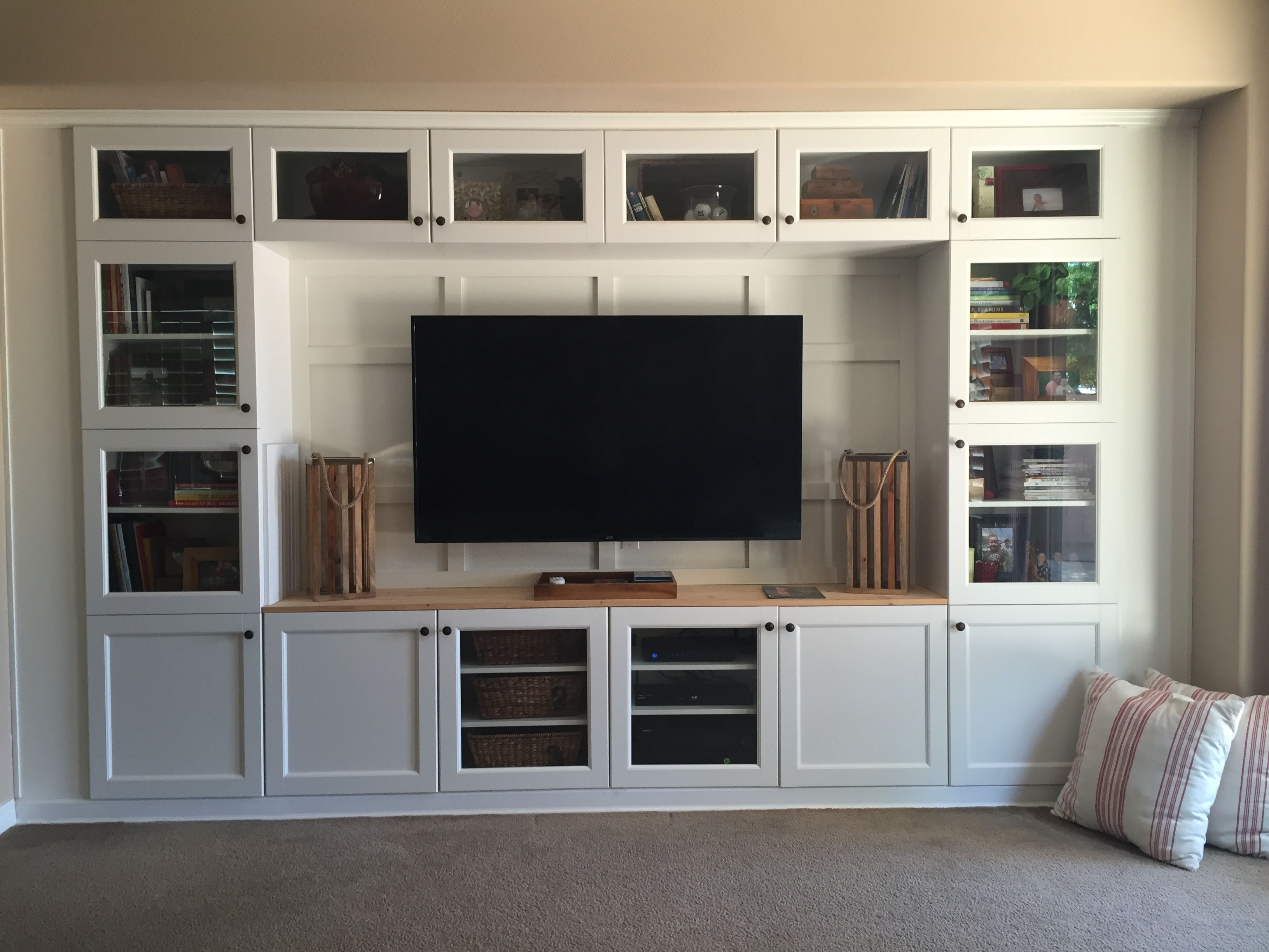 Built In Media Using Ikea Cabinets And Lumber Ikea Built In Built In Cabinets Living Room Cabinets