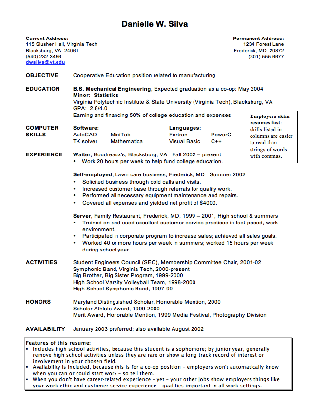 example of cooperative education resume httpexampleresumecvorgexample
