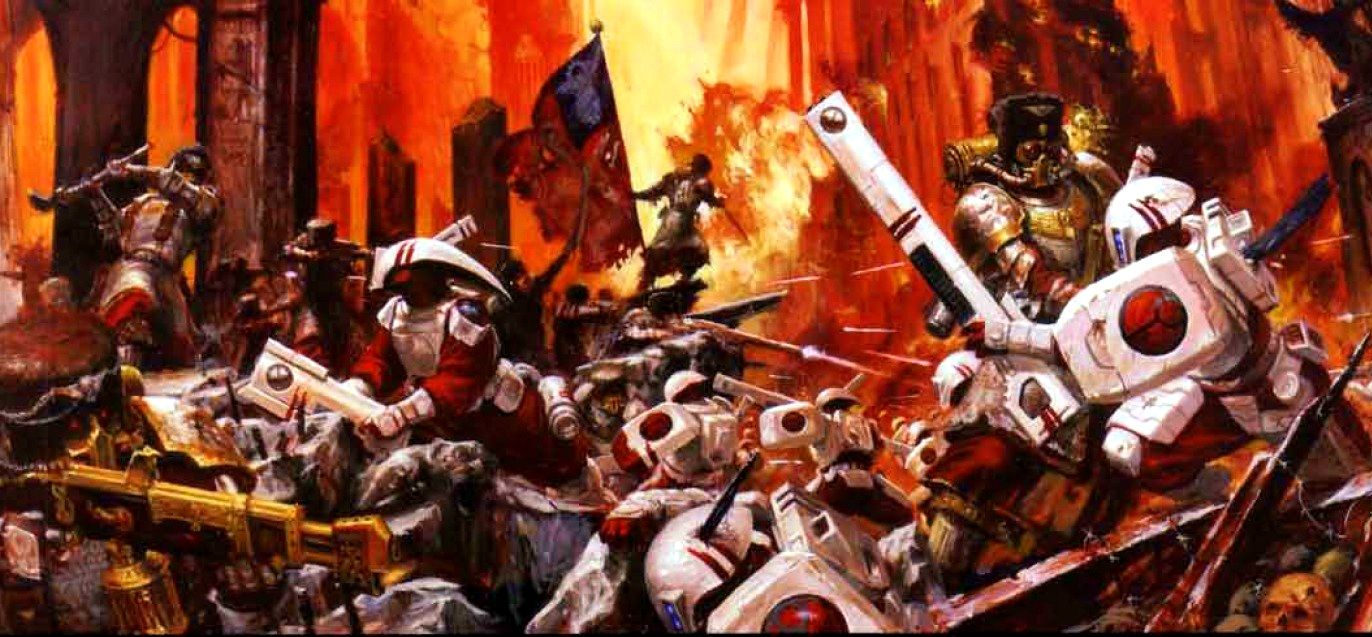 16th Vostroyan Firstborn Regiment - The 16th Vostroyan Regiment helped defend the world of Nimbosa from another attempt by the Tau to conquer it before the Imperial Nimbosa Crusade liberated the world in 992.M41.