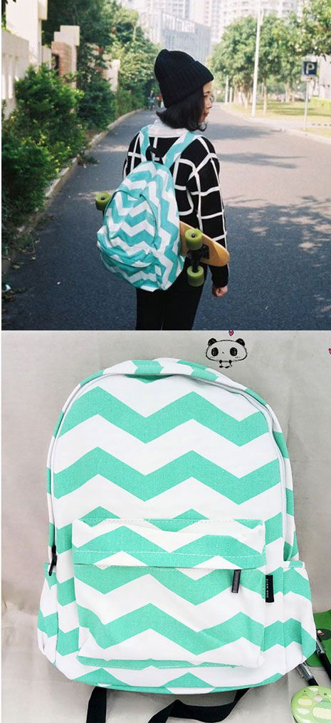 e4836c4f6bea Fresh Mint Green Stripe Weave Canvas Large Laptop School Backpack  19.99 Cute  Whale Flower Printing School Bag Backpack Beautiful World Cartoon Fresh  Canvas ...