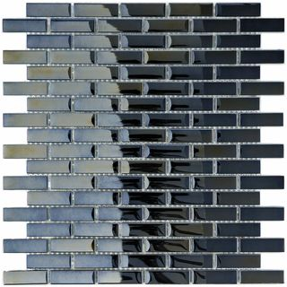 Somertile 12x12 In Obsidian Subway 5 8x1 7 8 In Mirror Glass Mosaic Tile Pack Of 10 For The Home Mosaic Wall Tiles Glass Mosaic Tiles Black Wall Tiles