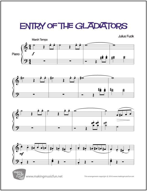 Entry of the Gladiators (Fuick) | Easy Piano Sheet Music (Digital ...