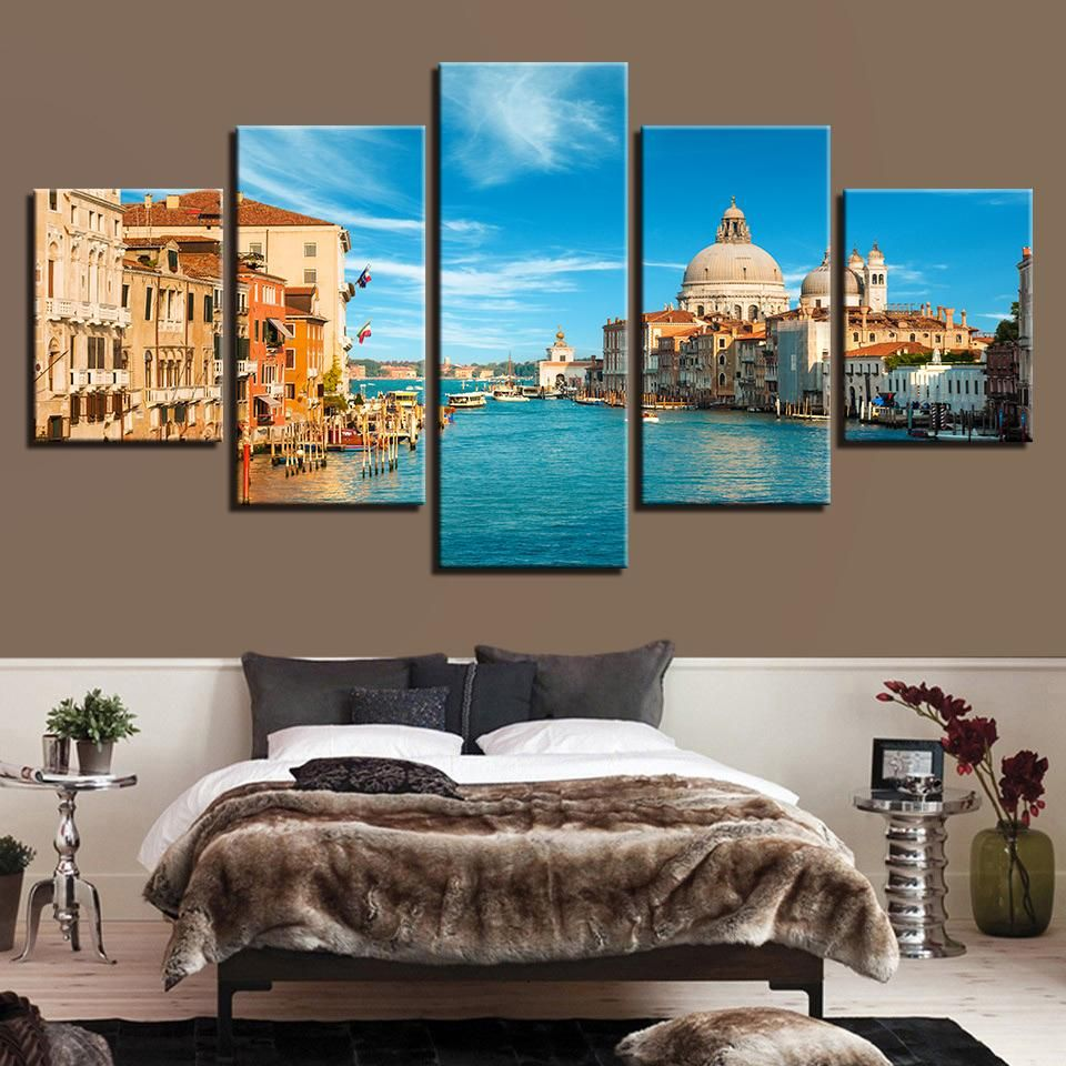Photo of Venice Italy 5 Panel Canvas Print Wall Art