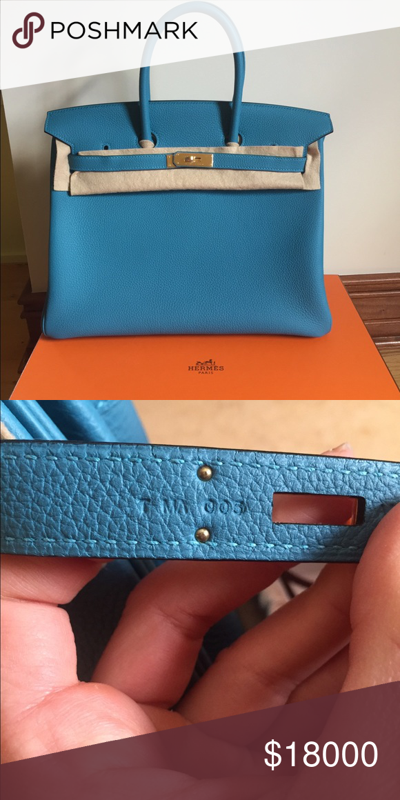 559d230f7f Hermes Birkin 35 Brand New in Box full set with original receipt. Hermes  Birkin Turquoise Togo with gold hardware Hermes Bags Totes