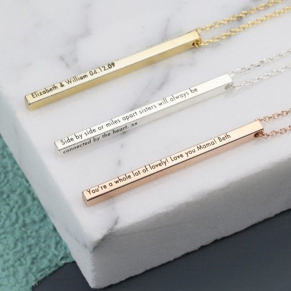 A thin and elegant vertical bar necklace, personalised with your own wording, from the Lisa Angel Delicate Collection. This minimal and understated necklace