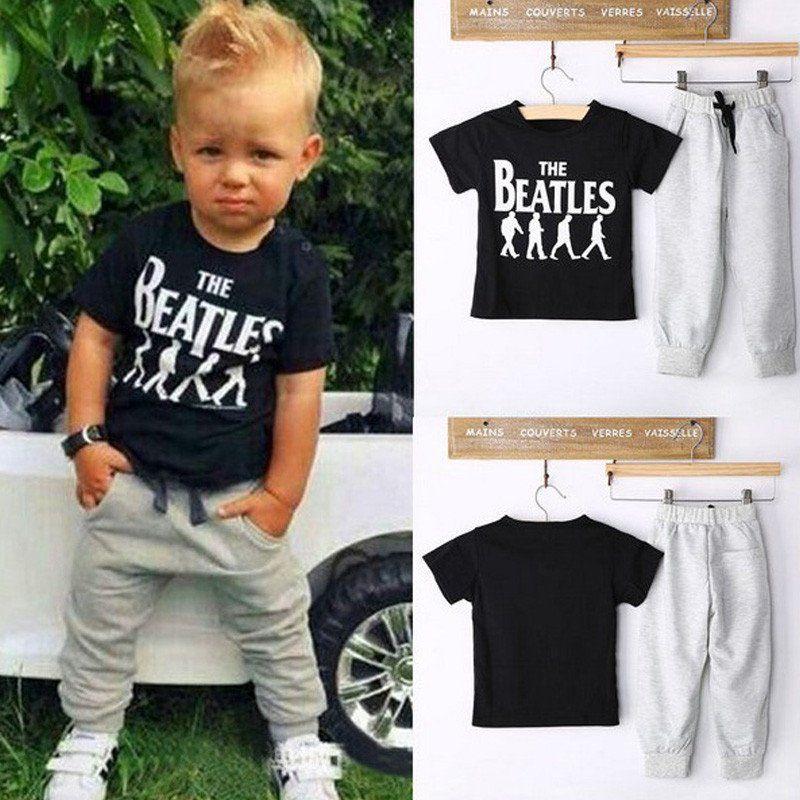 82f234aeffd5 Summer Kids Clothes Sets Short Sleeve Boy T-shirt Pants Suit ...
