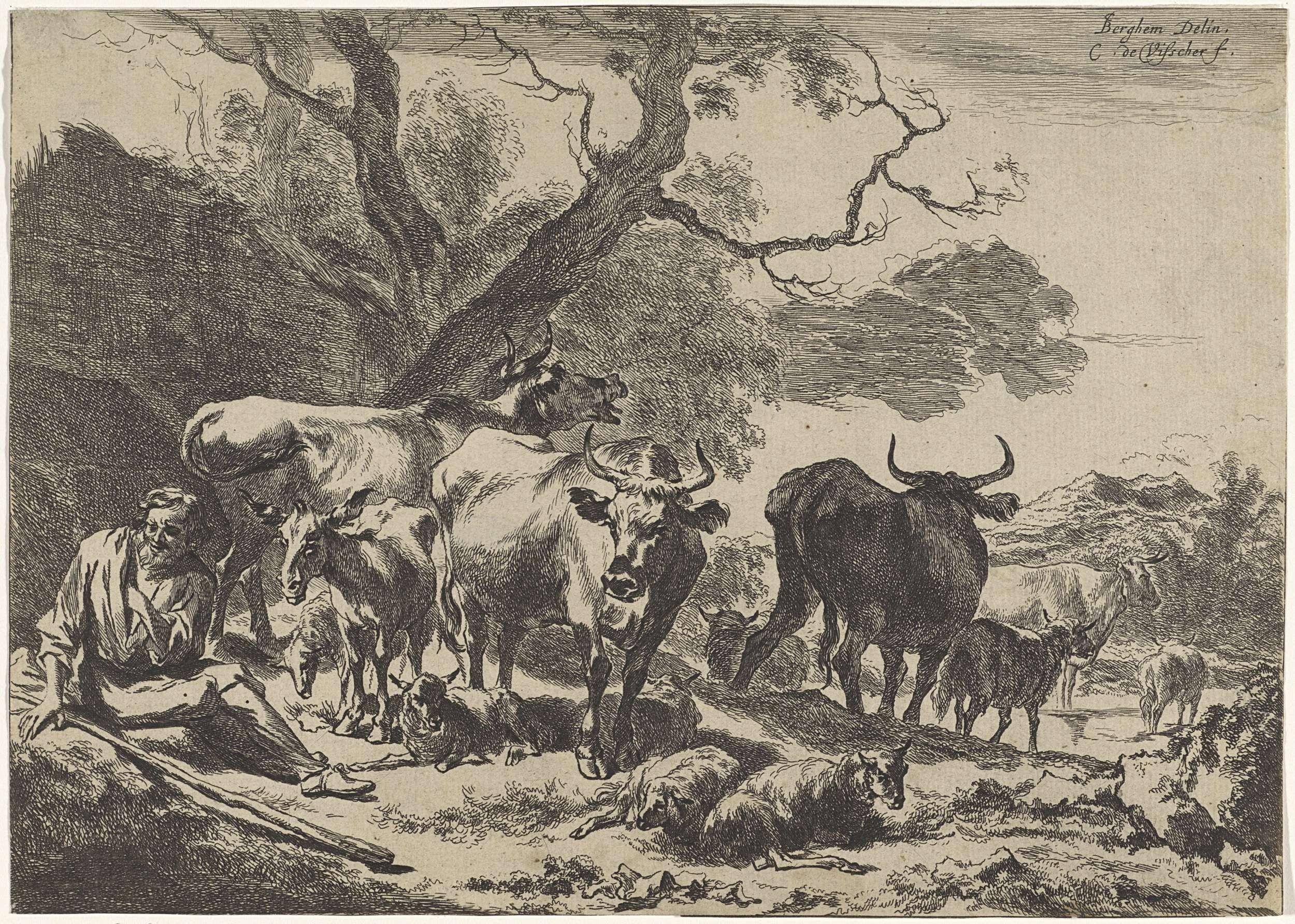 Cornelis Visscher (II) | Rustende oude herder met zijn kudde, Cornelis Visscher (II), 1638 - 1658 | In een landschap zit een oude herder onder een boom. Om hem heen staan en liggen koeien, schapen en een ezel.