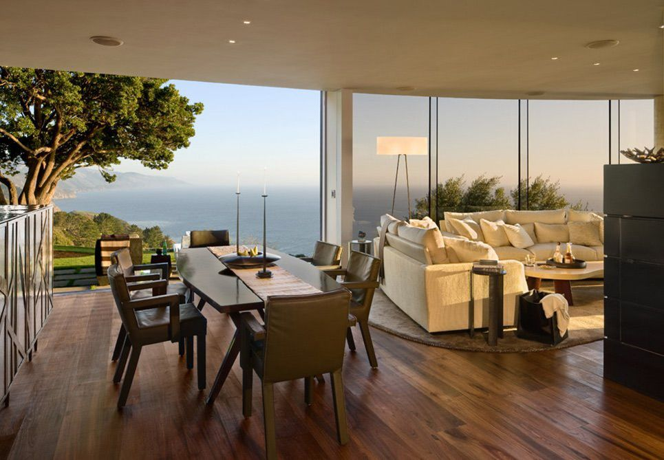 Dining Space, Ocean Views, Exquisite Contemporary Home In Big Sur,  California