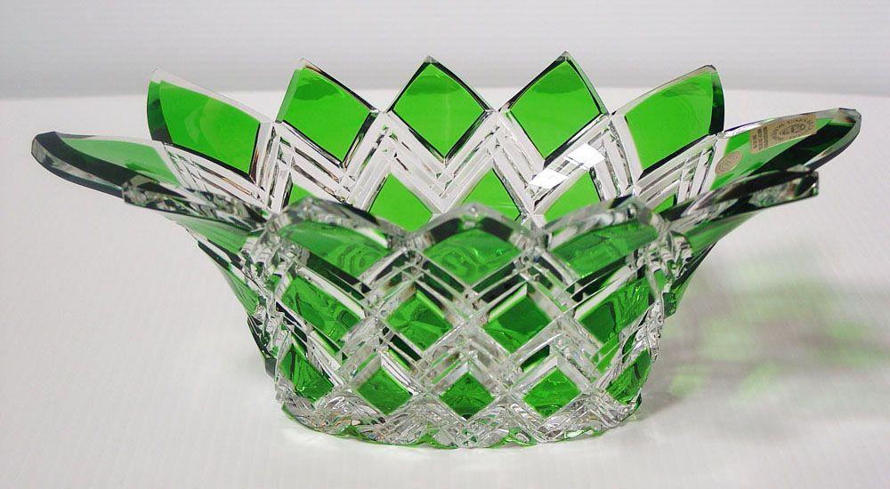 Caesar Crystal - Harlequin Bowl - Green