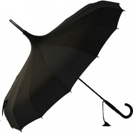 Scalloped Black Pagoda Ladies Umbrella by Chrysalin