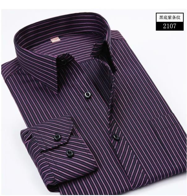 2016 Autumn Striped Slim Fit Long Sleeve Men's Casual Shirts